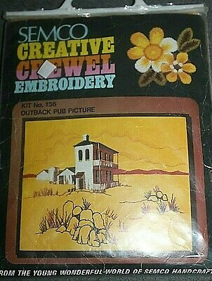 "New in Packet SEMCO Creative CREWEL embroidery KIT - The Outback Pub 30"" x 40"""