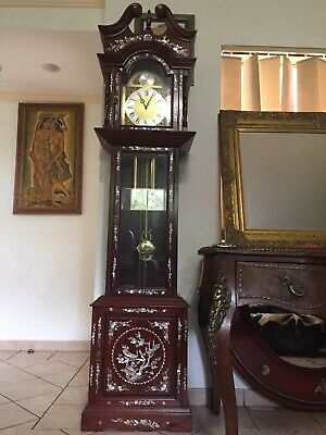 antique grandfather clock Rosewood Mother Of Pearl Case