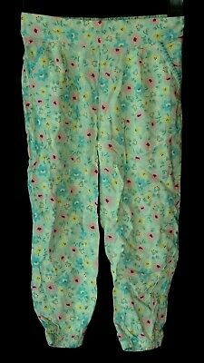 Girls Mini Club Green Pink Floral Casual Cuffed Harem Trousers Age 2-3 Years