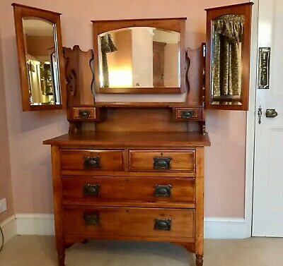Edwardian Dressing Table /Chest Of Drawers With Large Mirrors