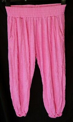 Girls Next Pink Soft Feel Viscose Cuffed Cropped Harem Trousers Age 11 Years