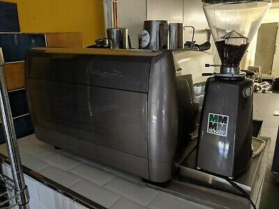 Used 2 Group Commercial Coffee Espresso Machine with Grinder