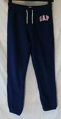 Girls Gap Dark Navy Blue Pink Logo Comfy Cuffed Joggers Trousers Age 12 Years