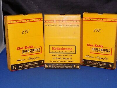 Lot of 3 Vintage Kodak Kodachrome 16mm Cine Film Magazines 50' Each EXPIRED