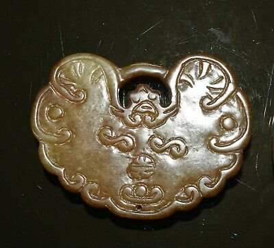 Vintage Chinese serpentine jade pendant both sides carved a butterfly