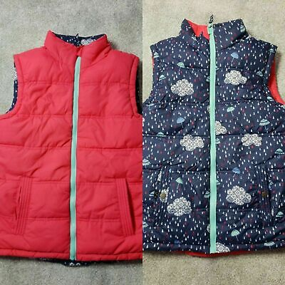 Fat Face Girls Reversible Blue Pink Padded Gilet Bodywarmer Size 10-11 Years