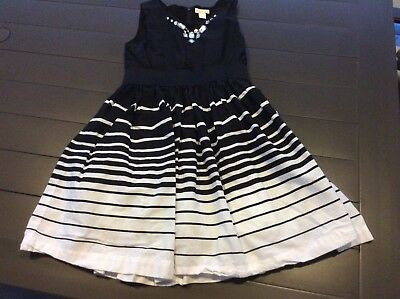 Children's Place Girls Sz 6 Black White Striped Lined Cotton Holiday Party Dress