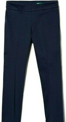 BNWT Size XS Age 4-5 Years Benetton Navy Skinny Chinos Adjustable Waist Trousers