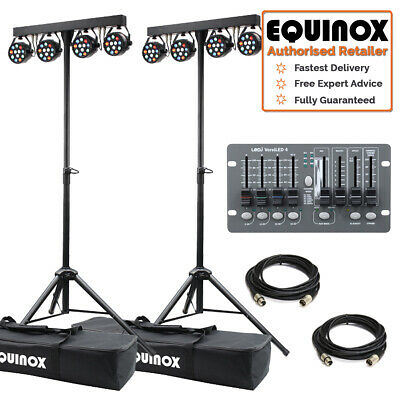 Equinox MicroPar Bar Twin LED ParBar Stage Band Light System, Leads & Controller