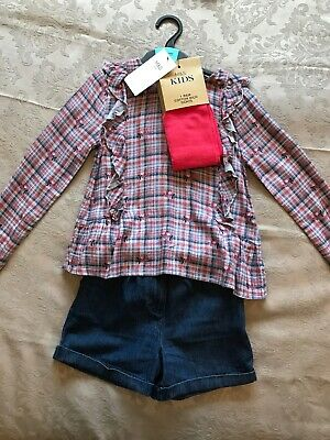 Girl's 3-piece Set Shorts, Blouse And Tights Age 5-6 Years BNWT