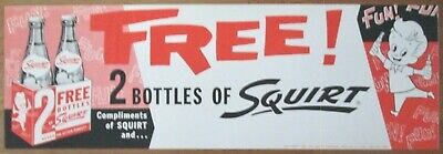 Squirt Soda large 2 Bottle Special promotion choice mint unused paper sign 1959
