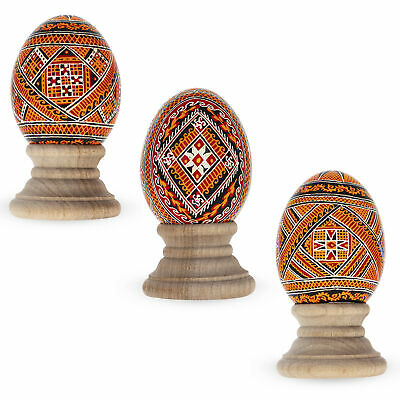 Set of 3 Chicken Size Blown Real Ukrainian Easter Egg Pysanky
