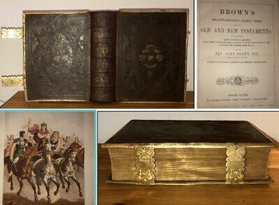 c1850 Antique Large Browns Family The Holy Bible Illustrated Leather Clasps