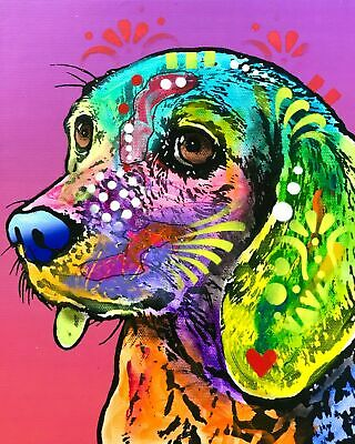 Dean Russo Art Print colorful dog direct from artist SIGNED animal beagle art