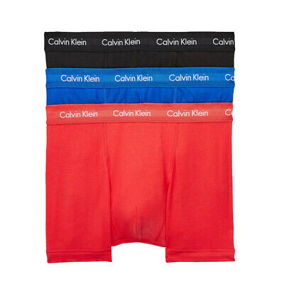 Calvin Klein 100% Authentic Men's Boxer Shorts Trunks - 3 Pack Blue/Red/Pink