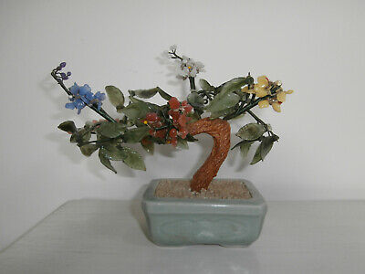 Vintage Glass Bonsai Tree Sculpture Multi Glass Blossoms In A Green Ceramic Pot