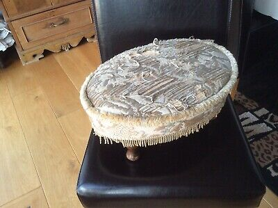 Victorian Oval Floral Tapestry Wooden Foot Stool