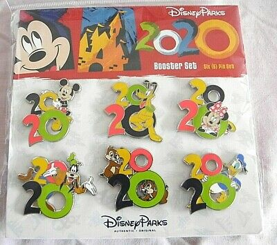 Disney Parks 6 Pin 2020 Collectible Logo Booster Pack
