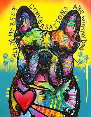 Dean Russo Art Print colorful dog direct from artist SIGNED animal frenchie art