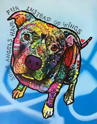 Dean Russo Art Print colorful dog direct from artist SIGNED animal pit bull art