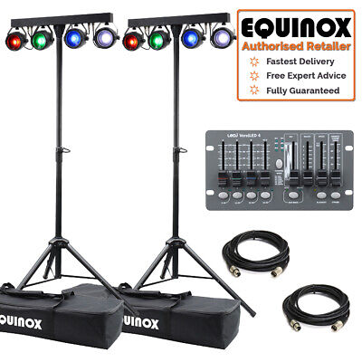 Equinox MicroBar COB Twin LED ParBar Stage Band Light System, Leads & Controller