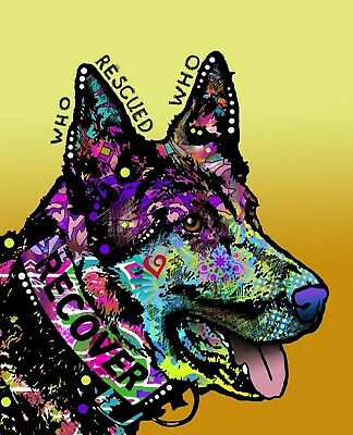 Dean Russo Art Print colorful dog direct from artist SIGNED animal shepherd art