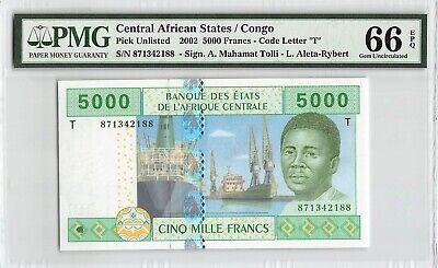 Francs 5,000 2000 P-104Cf Unc Central African States Congo 5000