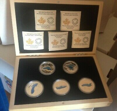 2014 - 2015 Canada Great Lakes Set Of 5 Pure Silver Coins With Box Blue Enamel