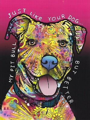 Dean Russo Art Print colorful dog direct from artist SIGNED animal pitbull art