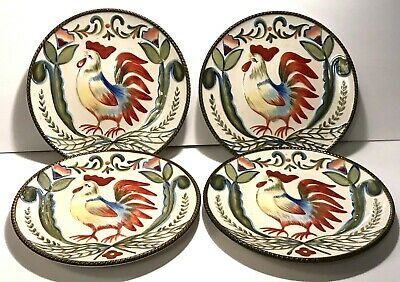 "4 Fitz And Floyd Glennbrook 8 1/2"" Rooster Salad Or Sandwich Plates"