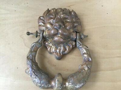 "Vintage Cast Brass Lion Head Door Knocker 8""L 6""W 3lbs Weight Read Description"