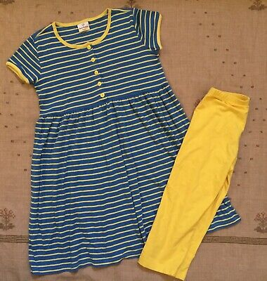 Hanna Andersson Blue Yellow Striped Playdress & Yellow Capri Leggings, Size 150