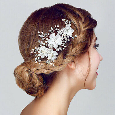 Bridal flower pearl and crystal hair comb