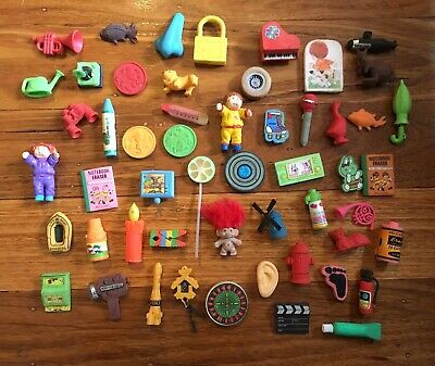 Vintage Eraser Rubbers Collection 53 Pieces Lot Cabbage Patch Troll 1980s