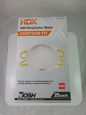 niosh hdx  N95 Particulate Respirator Mask 1 Box of 25 Masks Free shipping!