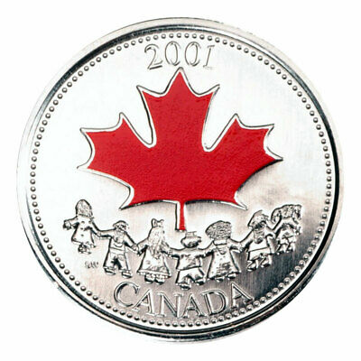 2001P Canada Day (Spirit) Proof Like Coloured 25 Cents!!