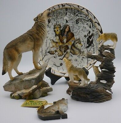"Bradford Exchange Native Harmony 8"" Plate Wolf Figure-Candle Holder-Ornament lot"