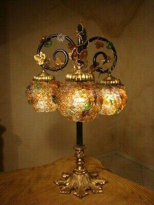 Amazing Old Art Nouveau Brass & Glass Lamp 3 Czech Blossoms Shades