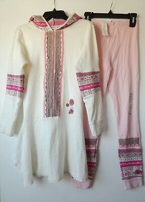 Naartjie girl's outfit Pink Sweater dress/hooded Tunic + Leggings NEW 9-10