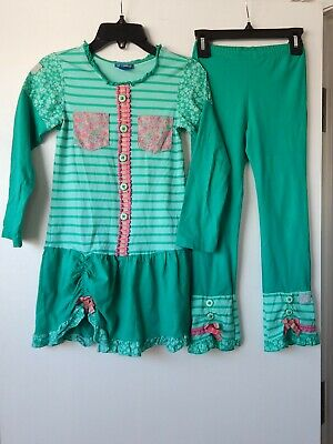 Naartjie girl's outfit set Green/pink Tunic Top Leggings NEW size 6-7