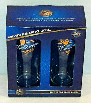 Bluetongue Beer Glass Twin Pack Gift Set Rare Collectable
