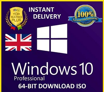 Windows 10 Professional 64 Bit Re-Install Repair Recovery ISO (INSTANT DELIVERY)
