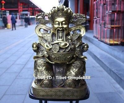 43 CM Chinese Brass God of Wealth Old Man Mammon Treasure Bowl Fengshui Statue