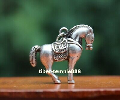 4 cm Miao silver Chinese Zodiac Animal Equine Horse Statuette Amulet Pendant