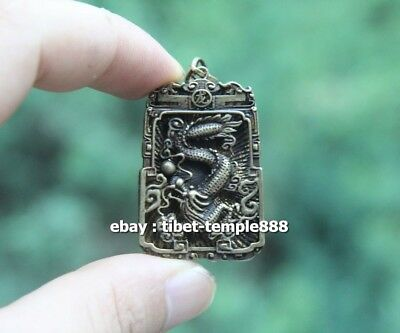 Chinese Pure Bronze Counteract Evil Force Zodiac Animal Dragon Amulet Pendant