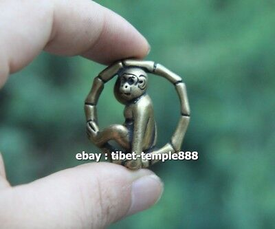 4 CM Pure Bronze Chinese Zodiac Animal Monkey Bamboo Amulet Pendant Necklace