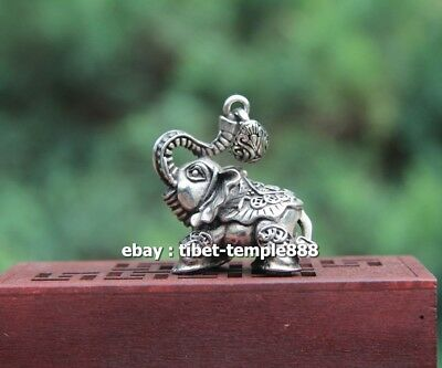 4 CM China Miao Silver Jewelry Handwork Lucky Blessing Elephant Amulet Pendant #