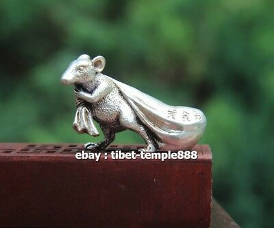 6 CM Miao Silver Chinese Zodiac Animal Rat Mouse Bring Wealth Sack Amulet Statue