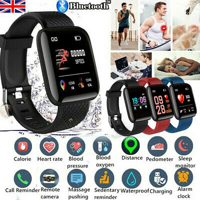 116Plus Smart Watch Fitness Tracker Bluetooth Heart Rate Blood Pressure Monitor