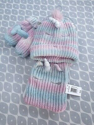 Girls Unicorn Hat, Scarf And Mitten Set age 7 to 10 yrs